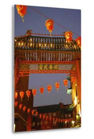 Red Lanterns and Gate on Gerrard Street in Chinatown London-Design Pics Inc-Metal Print