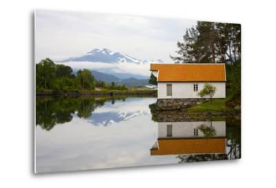 Open-Air Museum, Cottage Reflecting in Lake-Design Pics Inc-Metal Print