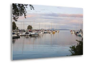Boats in the Harbour at Sunset; Thunder Bay, Ontario, Canada-Design Pics Inc-Metal Print