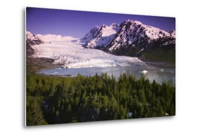 Aerial of Spencer Glacier Kenai Mountains Chugach National Forest Southcentral Alaska Summer-Design Pics Inc-Metal Print