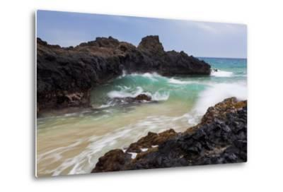 Hawaii, Maui, Makena, Ocean Wave on Rocky Coastline-Design Pics Inc-Metal Print