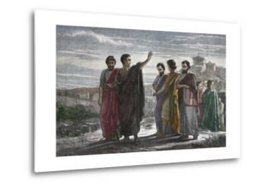 Banishment of Greek Philosopher Aristotle from Athens in 323 BC--Metal Print
