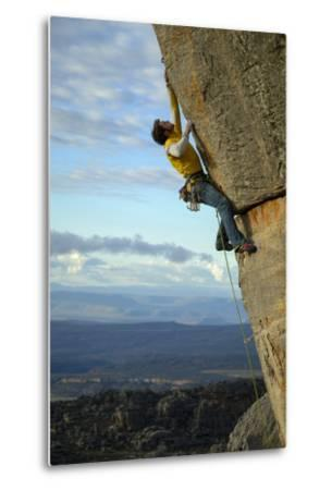A Man Climbs in the Cederberg Wilderness Area, South Africa-Keith Ladzinski-Metal Print