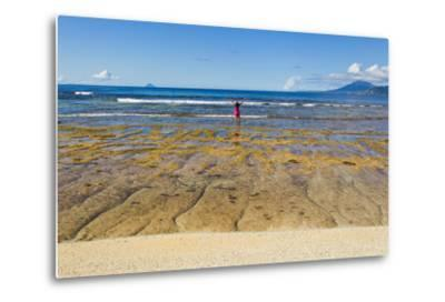 A Woman in a Pink Shirt Takes in a View of the Pacific Ocean from One the Batanes Islands-Mike Theiss-Metal Print