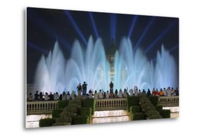 The Magic Fountain Light Show in Front of the National Palace, Barcelona.-Jon Hicks-Metal Print