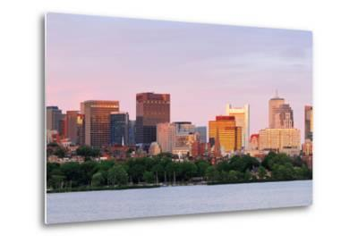 Boston Charles River Sunset with Urban Skyline and Skyscrapers-Songquan Deng-Metal Print