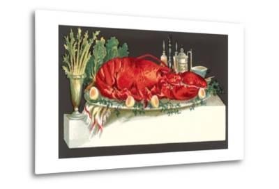Huge Lobster on Serving Platter-Found Image Press-Metal Print