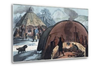 Interior of a Laplander Hut with a Family around the Fire-Stefano Bianchetti-Metal Print