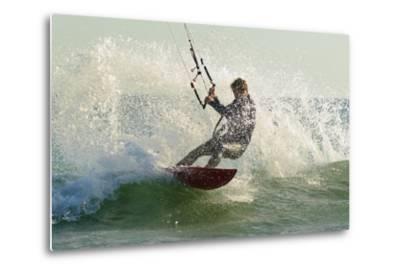 Man Kitesurfing; Costa De La Luz,Andalusia,Spain-Design Pics Inc-Metal Print