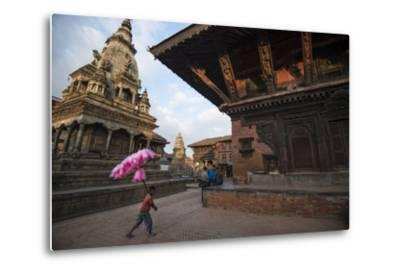 A Young Cotton Candy Seller Walking Through Durbar Square-Michael Melford-Metal Print