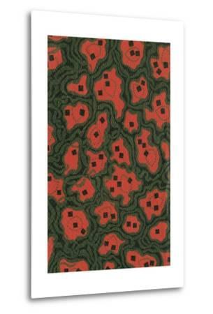 Red Shapes Surrounded by Green-Found Image Press-Metal Print