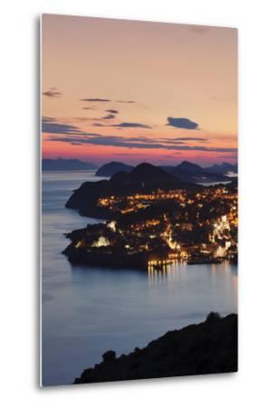 High Angle View of Dubrovnik at Sunset, UNESCO World Heritage Site, Dalmatia, Croatia, Europe-Markus Lange-Metal Print