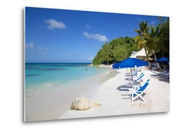 Beach and Sunshades, Long Bay, Antigua, Leeward Islands, West Indies, Caribbean, Central America-Frank Fell-Metal Print