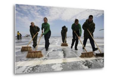 Sailors Scrub the Flight Deck of Aircraft Carrier USS Ronald Reagan--Metal Print