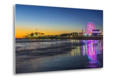 USA, California, Los Angeles, Santa Monica Pier Twilight-Rob Tilley-Metal Print
