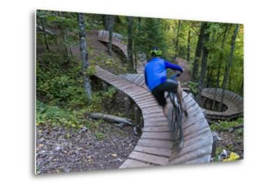 Mountain biking on the Over the Edge Trail, Copper Harbor, Michigan-Chuck Haney-Metal Print