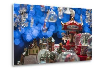 Christmas Ornaments for Sale in the Verona Christmas Market, Italy.-Jon Hicks-Metal Print