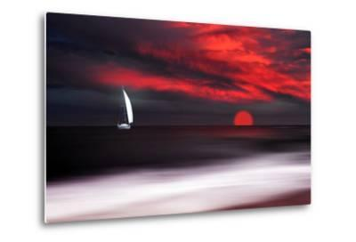 White sailboat and red sunset-Philippe Sainte-Laudy-Metal Print