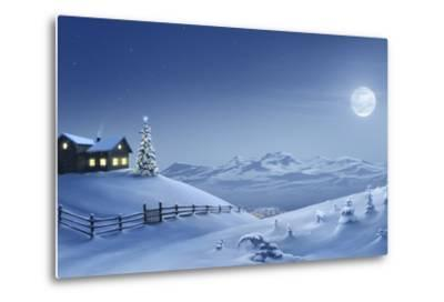 Digital Painting of a Silent Christmas Night in the Snow Covered Mountains.-Inga Nielsen-Metal Print
