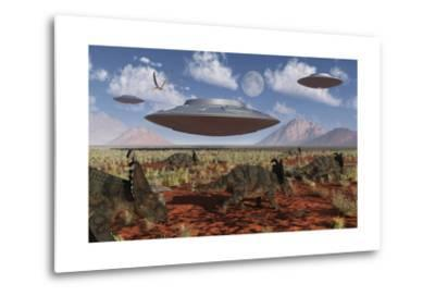 A Herd of Centrosaurus Dinosaurs Walk Past a Group of UFO'S--Metal Print