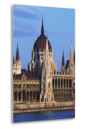 Parliament Buildings on River Danube-Design Pics Inc-Metal Print