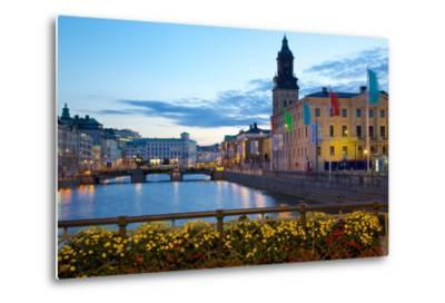 Town Hall and Canal at Dusk, Gothenburg, Sweden, Scandinavia, Europe-Frank Fell-Metal Print