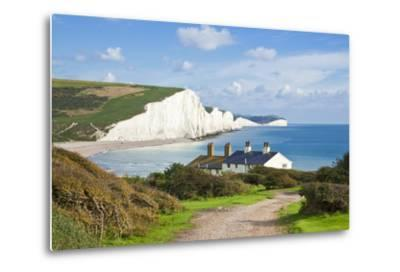 The Seven Sisters Chalk Cliffs and Coastguard Cottages-Neale Clark-Metal Print
