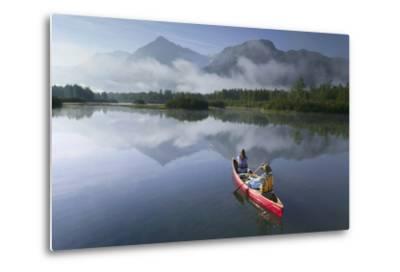 Couple Canoeing on Lake Portage Valley Sc Ak Summer-Design Pics Inc-Metal Print