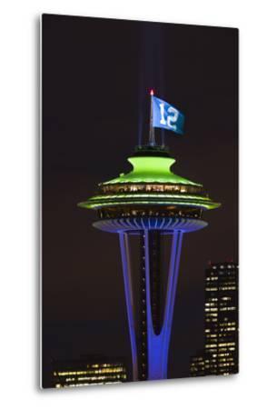 Space Needle with Seahawk colors and 12th man flag. Washington, USA-Jamie & Judy Wild-Metal Print