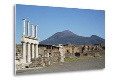 The Forum and Vesuvius Volcano, Pompeii, UNESCO World Heritage Site, Campania, Italy, Europe-Angelo Cavalli-Metal Print