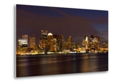 Boston Skyline by Night from East Boston, Massachusetts-Samuel Borges-Metal Print