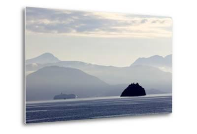 A Hurtigruten Cruise Boat in the Fjords of Norway, Scandinavia, Europe-Olivier Goujon-Metal Print