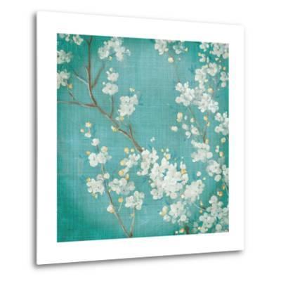 White Cherry Blossoms II on Blue Aged No Bird-Danhui Nai-Metal Print