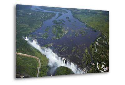Victoria Falls and Zambezi River, Zimbabwe/Zambia border-David Wall-Metal Print