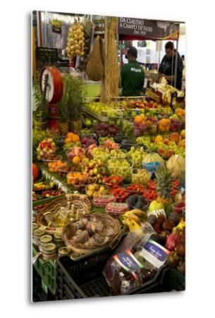 Fruit and Vegetable Stall at Campo De Fiori Market, Rome, Lazio, Italy, Europe-Peter Barritt-Metal Print