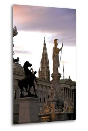 Austrian Parliament Building and Vienna City Hall, Vienna, Austria, Europe-Neil Farrin-Metal Print
