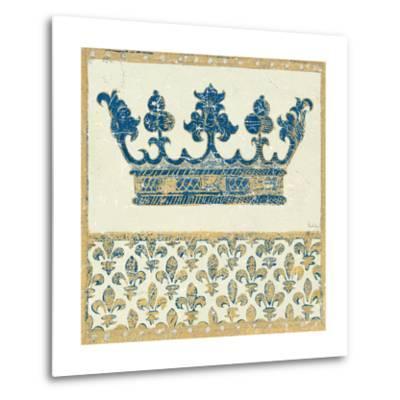 Regal Crown Indigo and Cream-Designs Meloushka-Metal Print