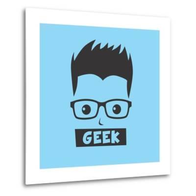 Geek Cartoon Character-vector1st-Metal Print