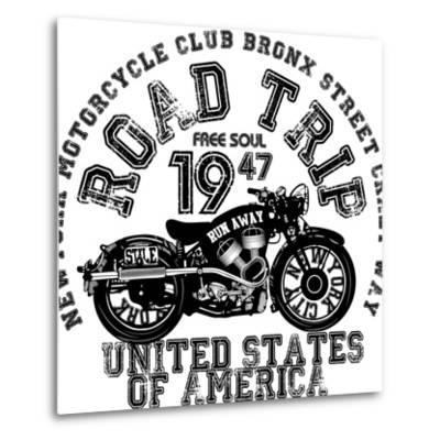 Vintage Motorcycle T-Shirt Graphic-emeget-Metal Print