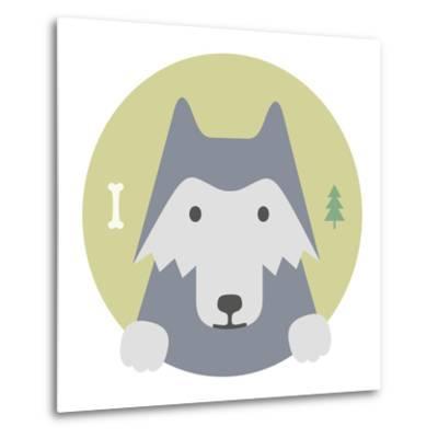 Animal Set. Portrait in Flat Graphics. Wolf-sonyakamoz-Metal Print