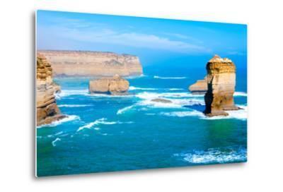 The Twelve Apostles by the Great Ocean Road in Victoria, Australia-StanciuC-Metal Print