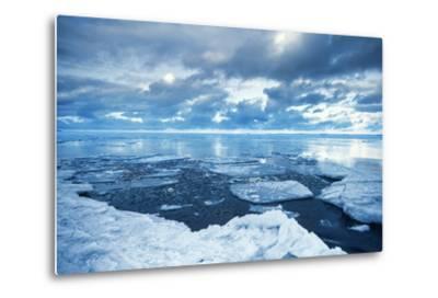 Winter Coastal Landscape with Floating Melting Ice Fragments-Eugene Sergeev-Metal Print