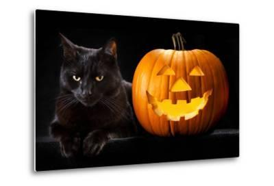 Halloween Pumpkin and Black Cat Scary Spooky and Creepy Horror Holiday Superstition Evil Animal And-kikkerdirk-Metal Print
