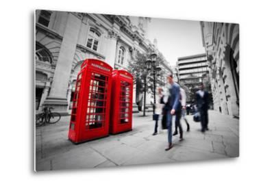 Business Life Concept in London, the Uk. Red Phone Booth, People in Suits Walking-Michal Bednarek-Metal Print