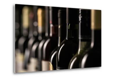 Row of Vintage Wine Bottles in a Wine Cellar (Shallow Dof; Color Toned Image)-l i g h t p o e t-Metal Print