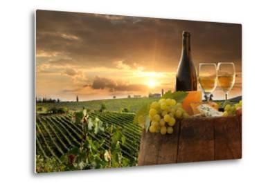 White Wine with Barrel on Vineyard in Chianti, Tuscany, Italy-extravagantni-Metal Print