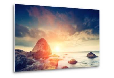 Fantastic Morning Blue Sea Glowing by Sunlight. Dramatic Scene. Black Sea, Crimea, Ukraine, Europe.-Leonid Tit-Metal Print