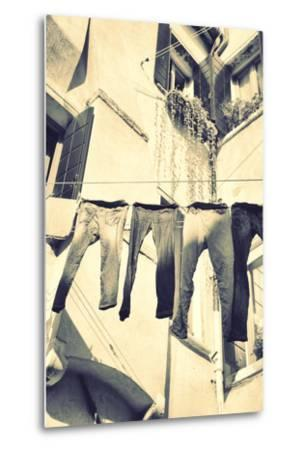 Clothes Airing Outdoor in Venice, Italy. Black and White, Instagram Style Filter-Zoom-zoom-Metal Print