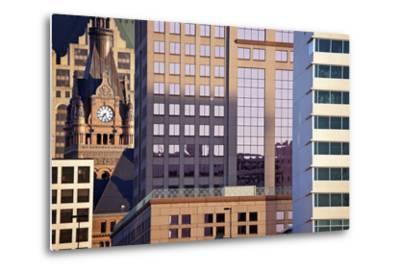 Composition of Milwaukee Buildings-benkrut-Metal Print