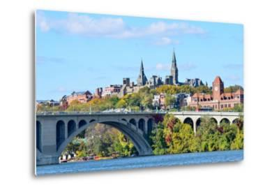 Washington Dc, a View from Georgetown and Key Bridge in Autumn-Orhan-Metal Print